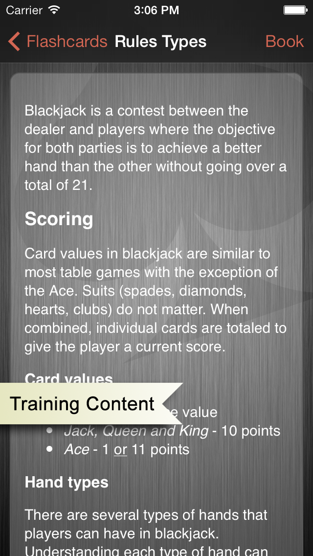 iPhone app screenshot showing blackjack rules.