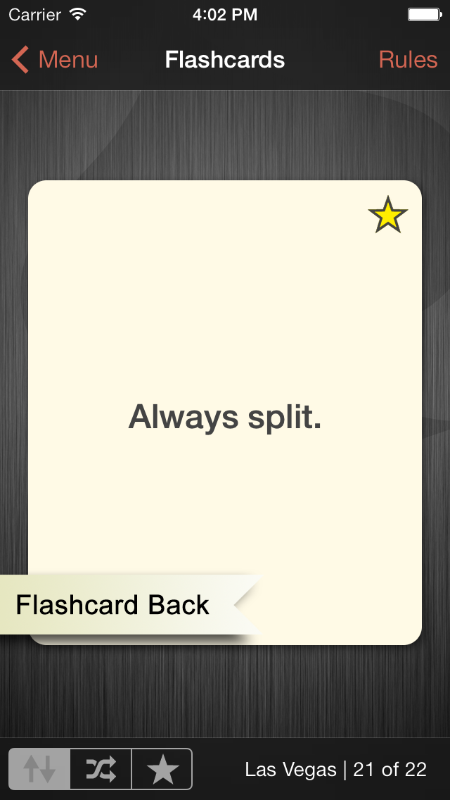 "iPhone app screenshot showing flashcard back ""always split."""