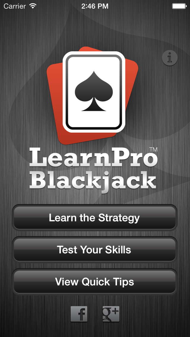 iOS blackjack trainer app home screenshot.