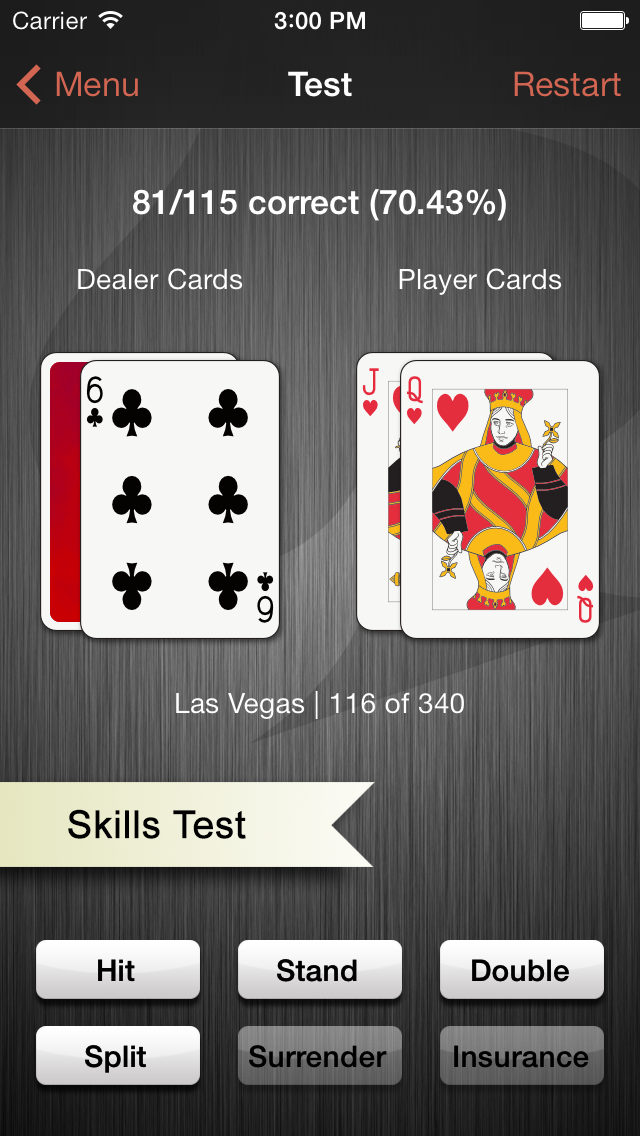 iPhone app blackjack trainer screenshot.