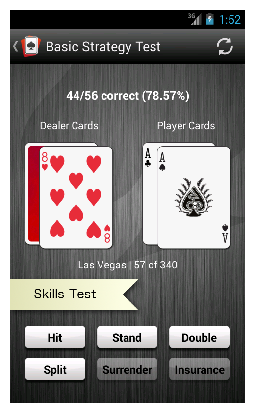 Android app blackjack trainer screenshot.