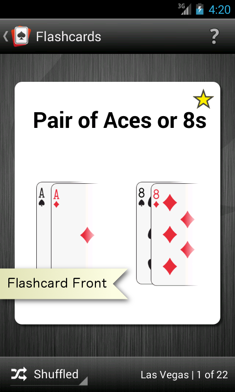 "Android app flashcard front screenshot that says ""Pair of Aces or 8s."""